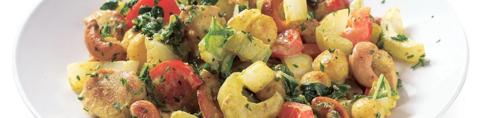 chicken with potatoes in mustard-nut sauce