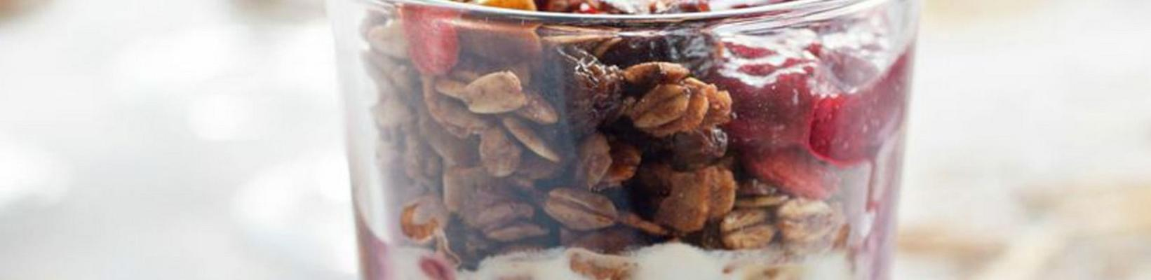 granola with fruit compote