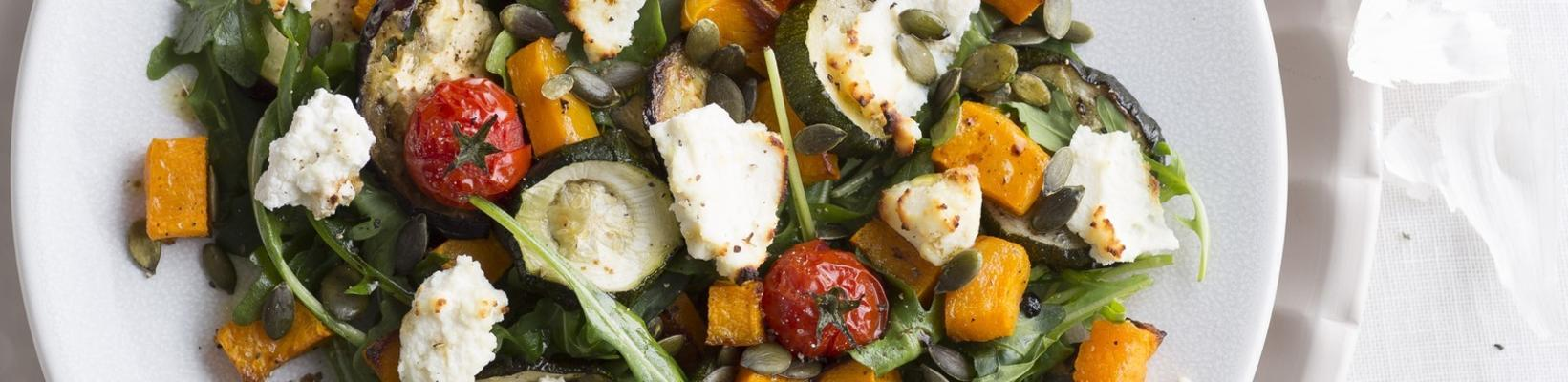 grilled autumn vegetable salad with ricotta