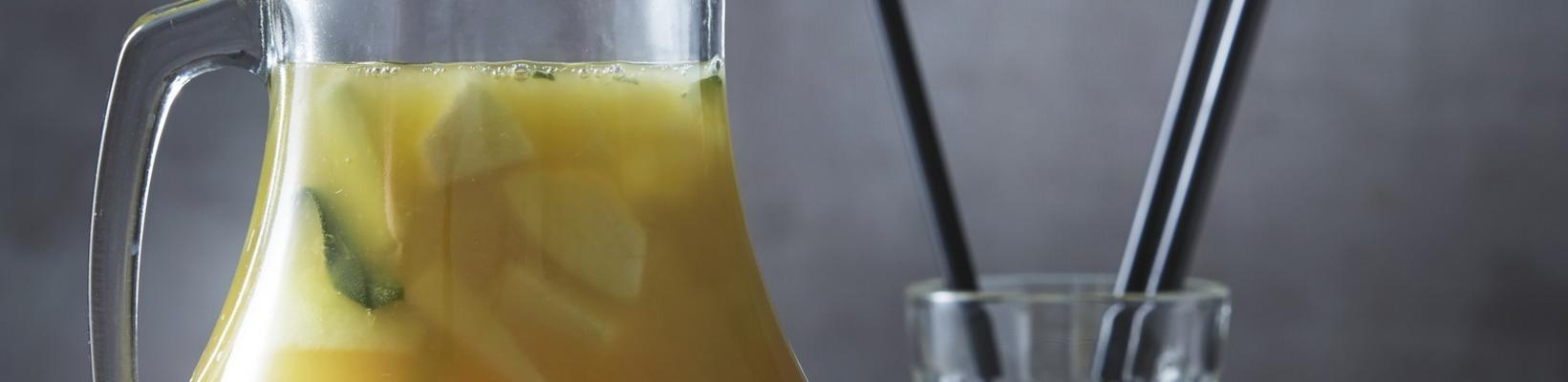 green tea drink with pear and sage