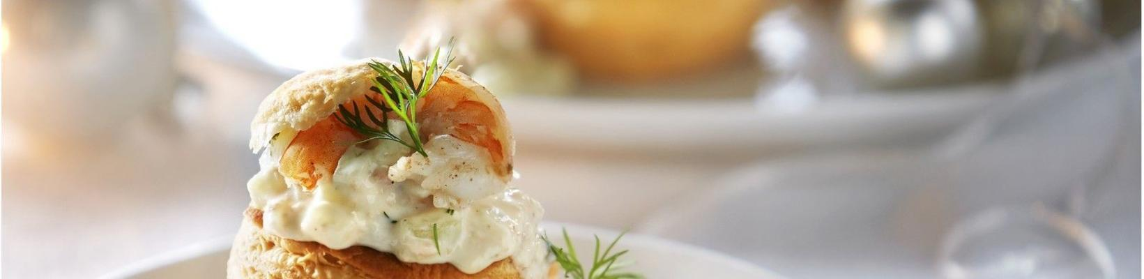 patty with salmon and shrimps