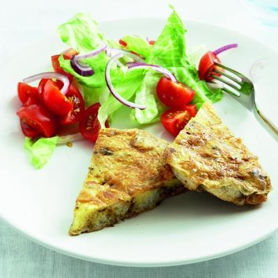 bread omelet with garlic and garden herbs