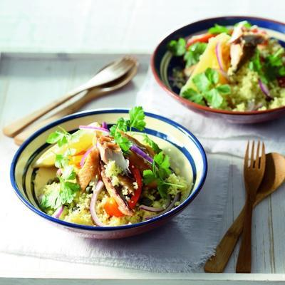 couscous salad with roasted peppers and mackerel