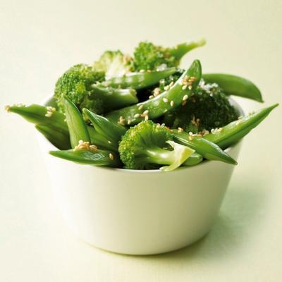 sugarsnaps and broccoli with sea salt and sesame