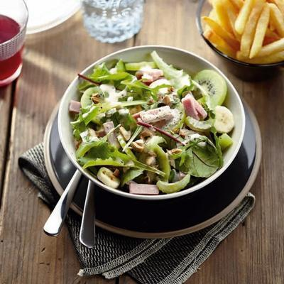 fruity salad with ham and oven fries