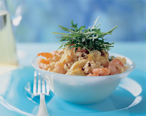risotto with asparagus and shrimps