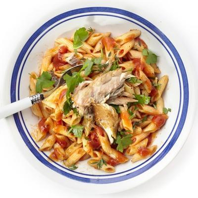 spicy pasta with tomato sauce and mackerel