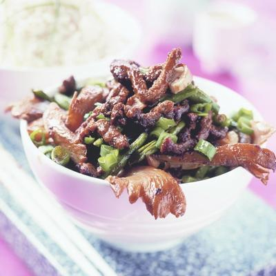 oriental beef strips from the wok
