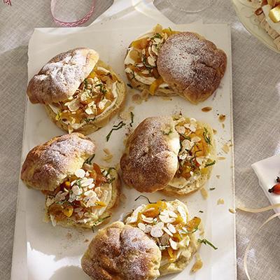 sugar dumplings with mascarpone and apricot lime salad
