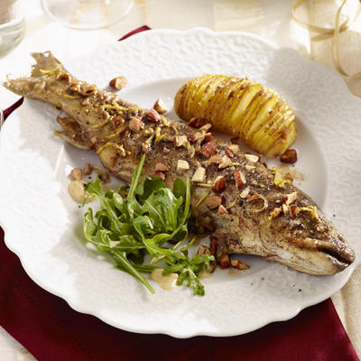 trout with nut butter, sherry vinaigrette and smoked almonds
