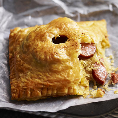 puff pastry packets with sauerkraut and smoked sausage