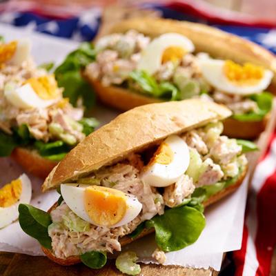 tuna salad submarine - baguette with tuna salad