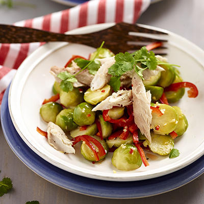 oriental salad of Brussels sprouts and smoked mackerel