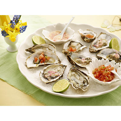 raw oysters with two toppings
