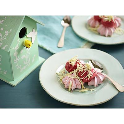 meringue with raspberry-yogurt ice cream