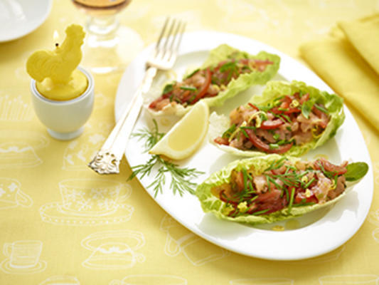 little gem filled with salmon-herb salad