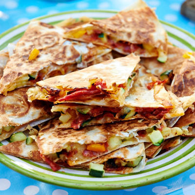 quesadillas with zucchini and yellow peppers