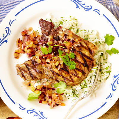 chops with plum salsa
