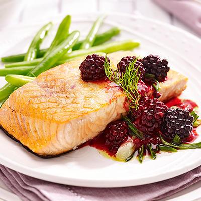 salmon with blackberries