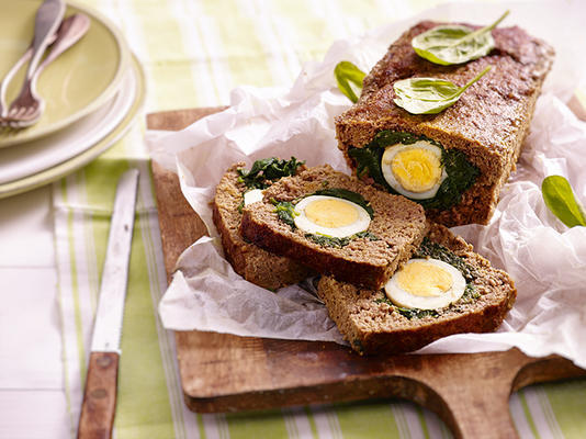 meatloaf from the oven with spinach and egg