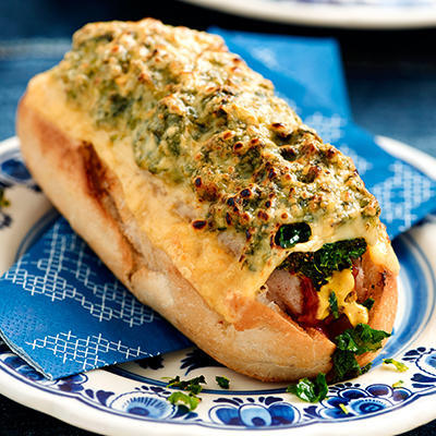 kale with sausage roll