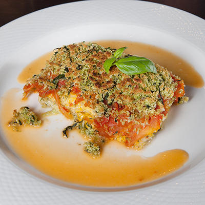 cod from the oven with tomato compote and basil crumbs