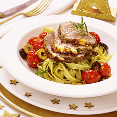 lamb with herb cream, fettucine and smothered tomatoes
