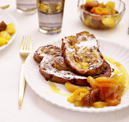 french toast of Christmas bread with apricot compote