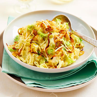 stew endive with cheese and fried onion