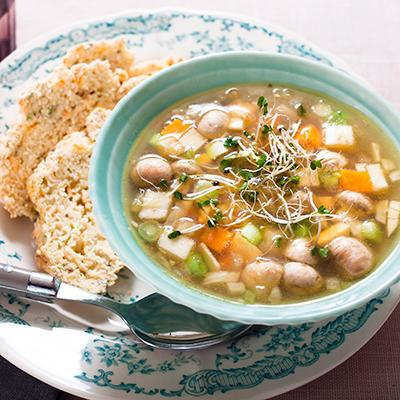 thai fish soup with celeriac bread