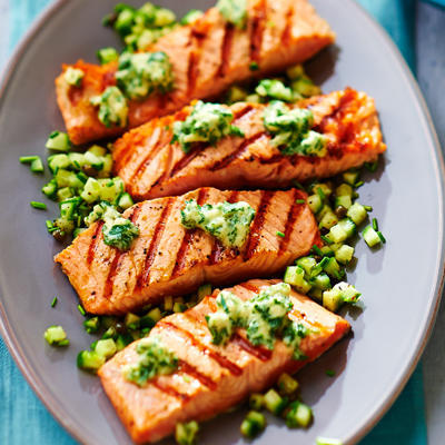 grilled salmon with horseradish butter from Norway