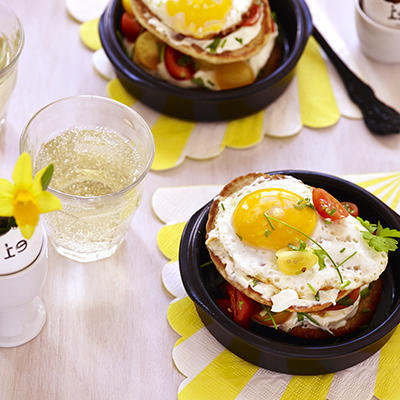 american pancake with tomato and egg