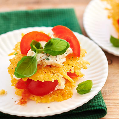 cheese patty cup with tomato and basil