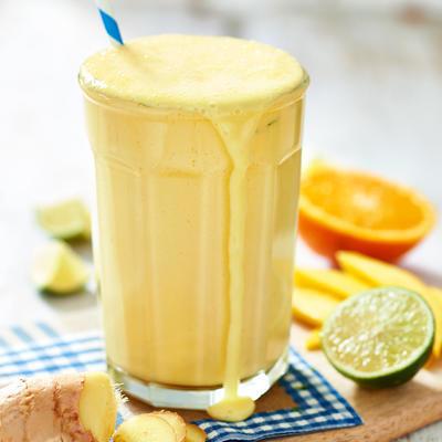 mango oranges smoothie with vanilla custard