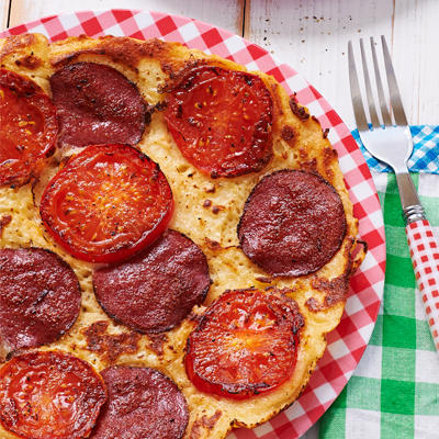 pancakes with cheese, salami and tomato