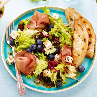 lunch salad with blue berries