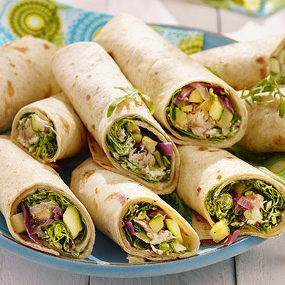 wraps with smoked mackerel and stewed zucchini