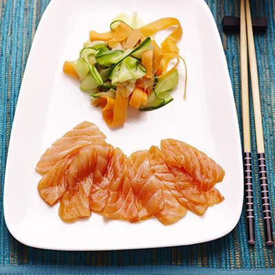 sashimi of salmon with sweet-sour vegetables