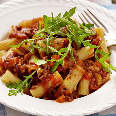 rigatoni with Italian minced meat sauce
