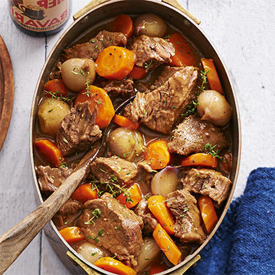 ribs with shallots and carrot stewed in bokbier