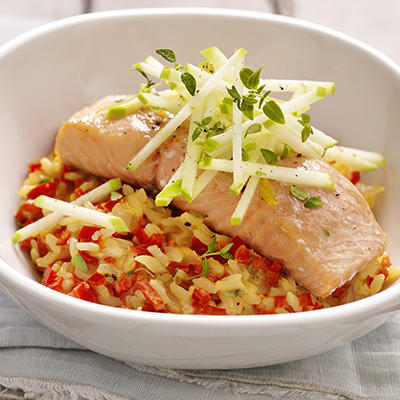lemon-pepper risotto with salmon from the oven