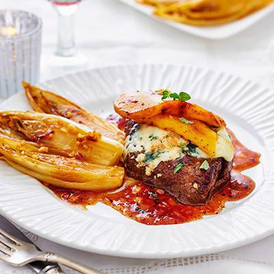steak with roquefort, mango and ginger-wine sauce