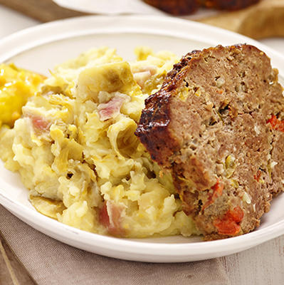 Brussels sprout stew with mega meat loaf