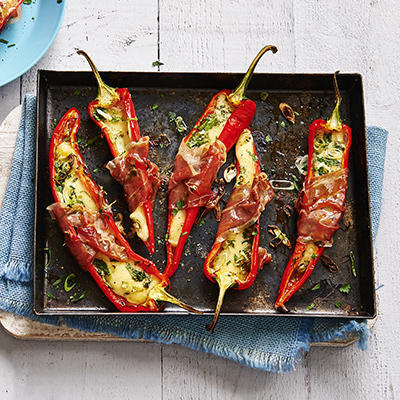 roasted peppers with cheese from the oven