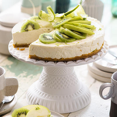 lime cheesecake with green fruit