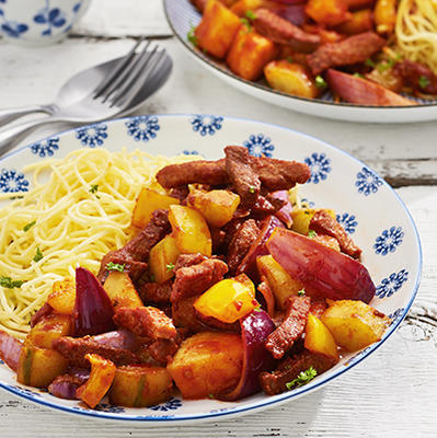 pork strips with pineapple