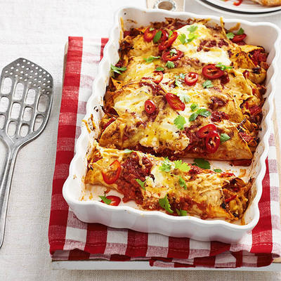 enchiladas from the oven