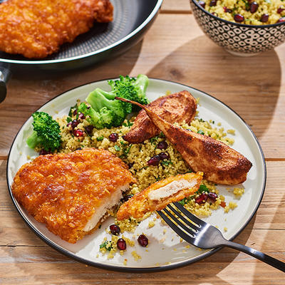 chicken schnitzels with roasted pears from the oven