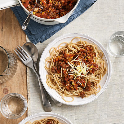 spaghetti with winter bolognese