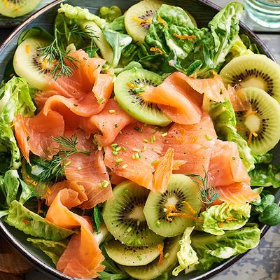 salmon salad with kiwi